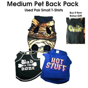 """Pet Backpack Carrier 13"""" x 7"""" 2 Used SM Shirts"""